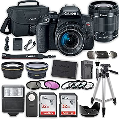 Canon EOS Rebel T7i DSLR Camera Bundle with Canon EF-S 18-55mm f/4-5.6 IS STM Lens + 2pc SanDisk 32GB Memory Cards + Accessory Kit