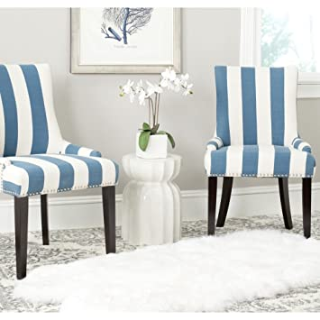 newest collection 750cc fb9a7 Safavieh MCR4709AJ-SET2 Mercer Collection Lester Dining Chair, Blue/White  Stripe