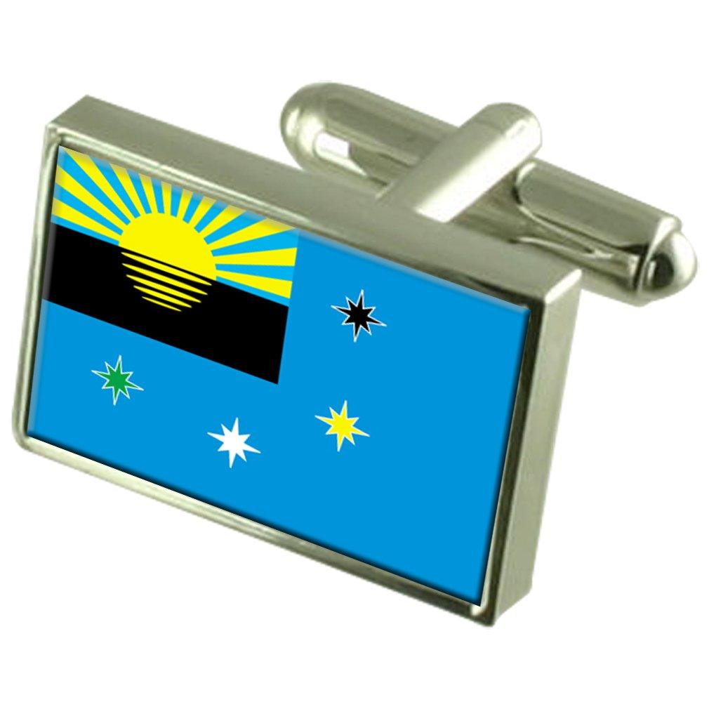 Makiivka Makeyevka City Ukraine Sterling Silver Flag Cufflinks Engraved Box