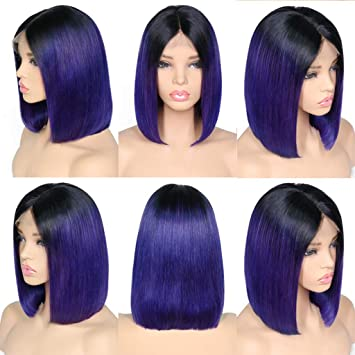 Amazon.com : XRS Hair Wig 1B/Blue Color Ombre Color Lace Front Bob Human Hair Wigs for Women with Baby Hair Preplucked Hairline Straight Brazilain Human ...