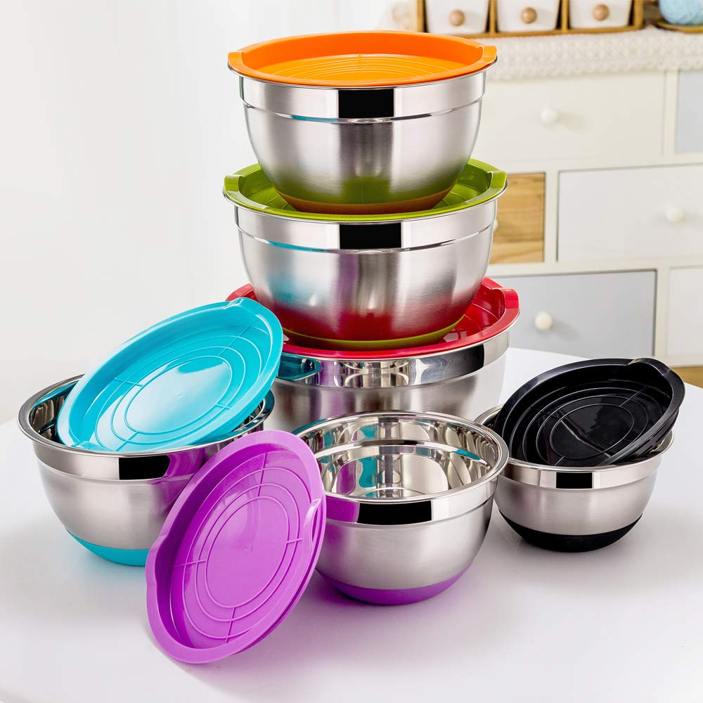 P&P CHEF Mixing Bowls With Lids, Set of 6 (12 Piece), Stainless Steel Nesting Mixing Bowls & Tight Fitting Lids & Non-Slip Silicone Bottom, 6 Multi Size (1/1.5/2.5/3/4/5qt) by P&P CHEF (Image #2)
