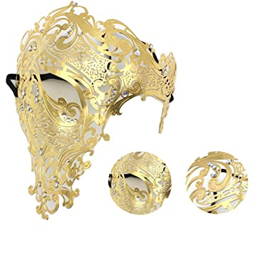 RISILAYS Media Máscara De Halloween, Máscara De Hierro Veneciano, Máscara Monocular, Recorte De