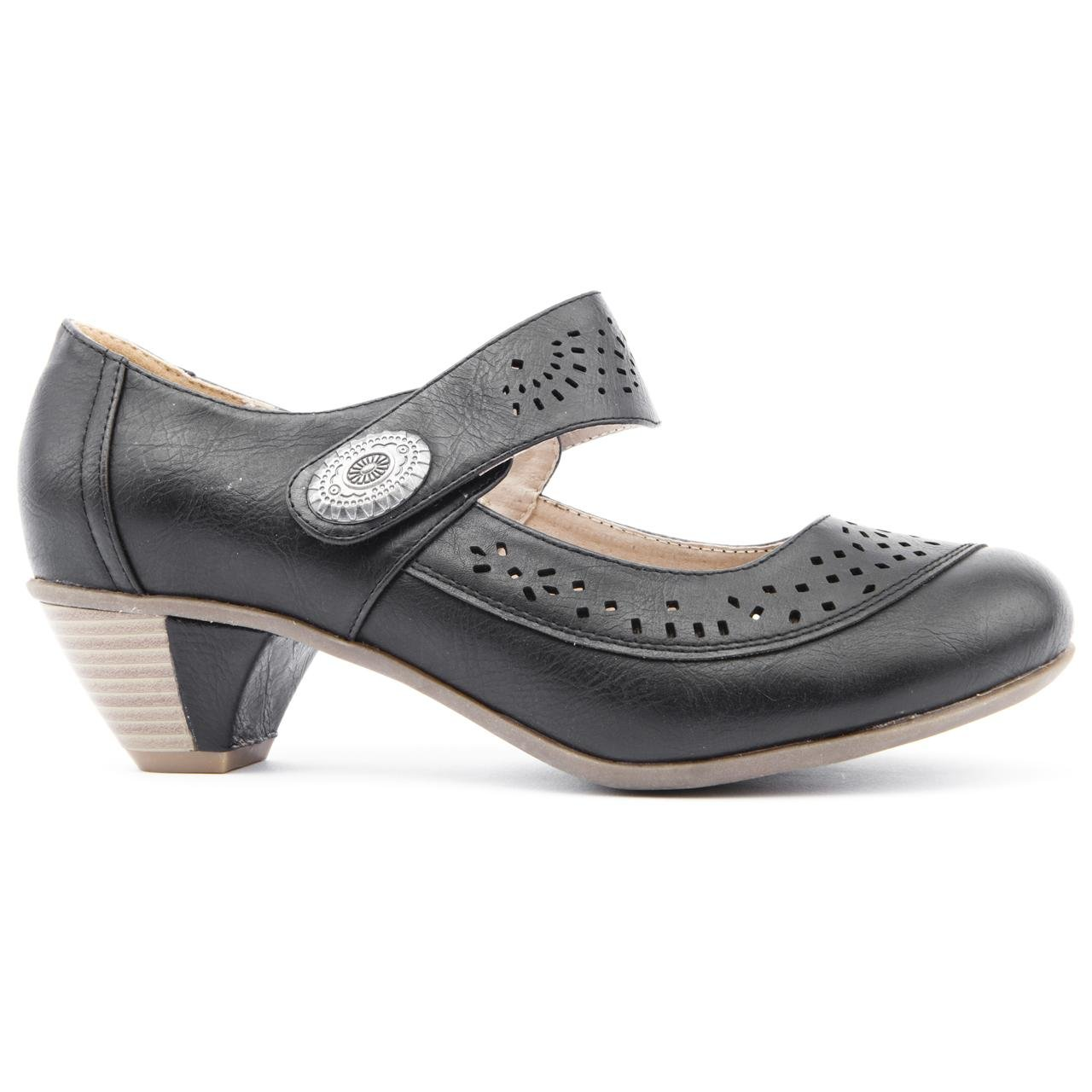 c864711557a4 Ladies Caravelle Extra Wide Fit Martina Black Low Heel Shoes Size 8   Amazon.co.uk  Shoes   Bags