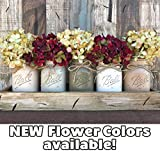 Mason Canning JARS in Wood or Metal Tray Centerpiece with 5 Ball Pint Jar -Kitchen Table Decor -Distressed -Flowers (Optional)- SAND, THISTLE, PEWTER, CREAM, COFFEE Painted Jars (Pictured)