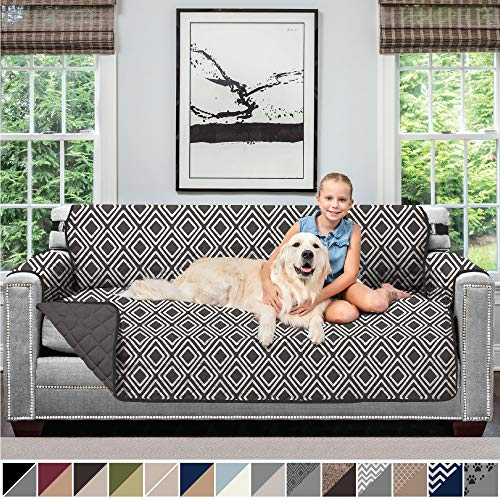 Sofa Shield Original Patent Pending Reversible Large Sofa Protector for Seat Width up to 70 Inch, Furniture Slipcover, 2 Inch Strap, Couch Slip Cover Throw for Pets, Kids, Cats, Sofa, Diamond Charcoal (Cheap Sofas For Online)
