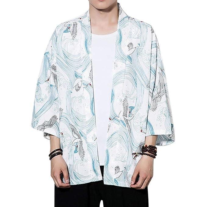 Uomo Giacca da Kimono Moda Casual da Giacca Manica Chic Lunga Allentata con  Maniche A 3 4 9f9db313d93