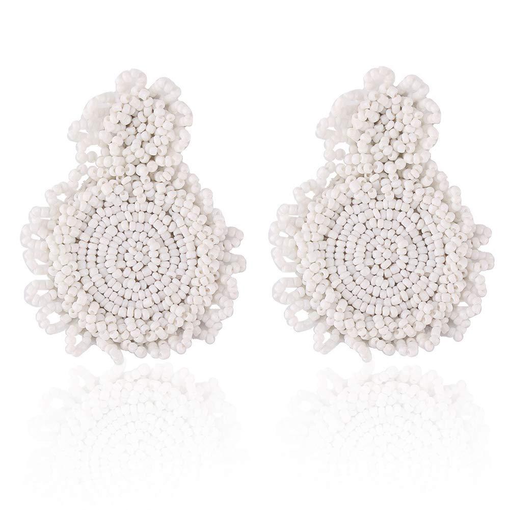 Statement Drop Earrings - White Bohemian Beaded Round Dangle Earrings Gift for Women
