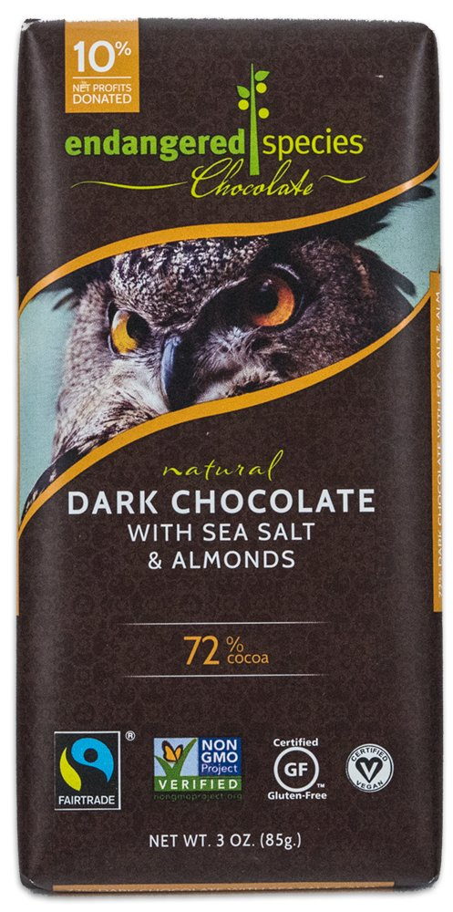 Endangered Species Owl Dark Chocolate with Sea Salt and Almonds, 3 Ounce (Pack of 12)