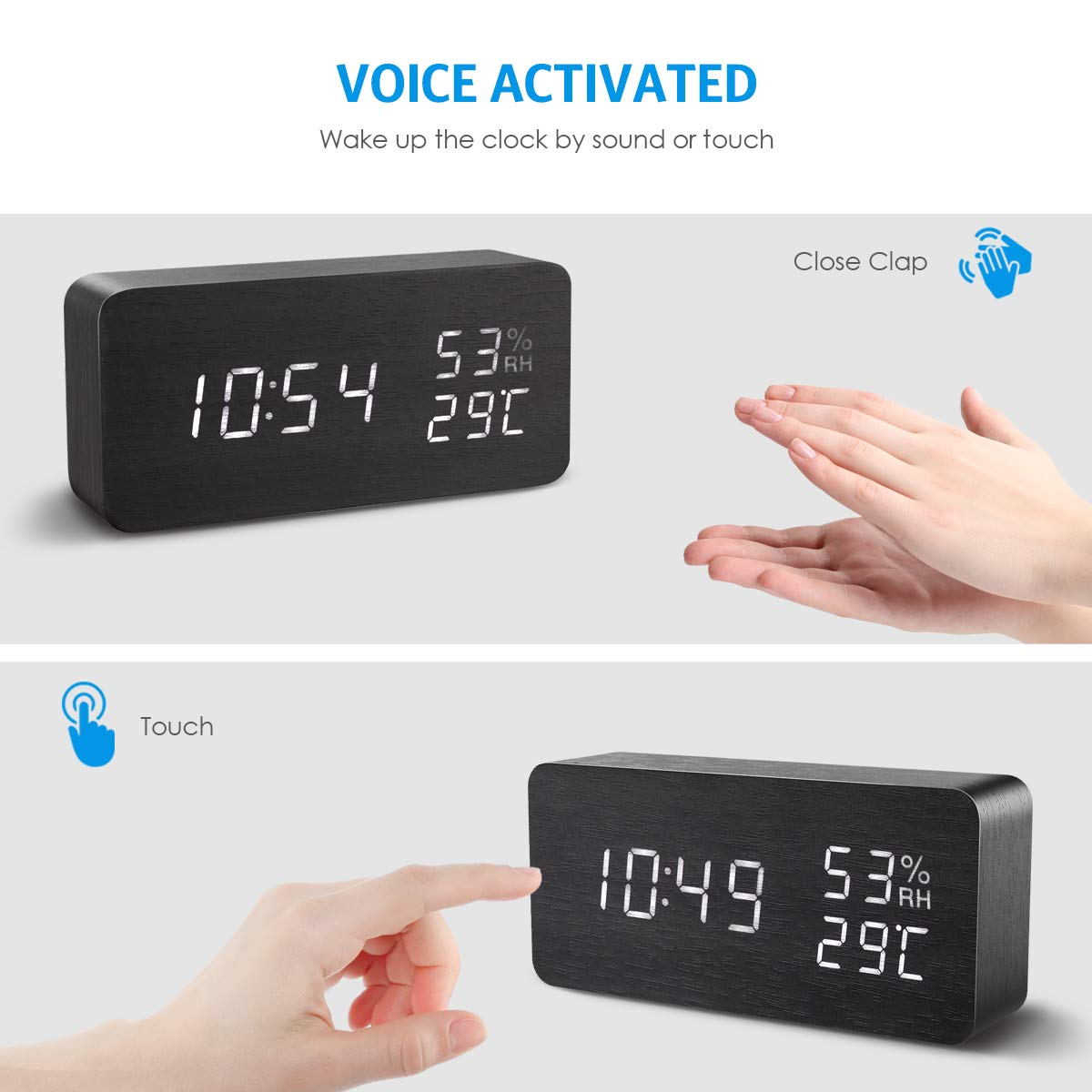 AMIR Alarm Clock, Wooden Digital Multi-Function Modern Cube LED Light, Smart Voice-Activated with 3 Alarm Sounds, Display Date Temperature & Humidity for Home, Kitchen, Bedroom (Black) by AMIR (Image #4)