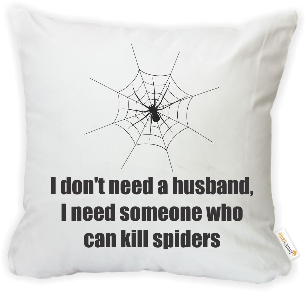Insert Included Printed in The USA Rikki Knight 16 x 16 inch Rikki KnightHusband Kill Spiders Microfiber Throw Pillow Cushion Square with Hidden Zipper