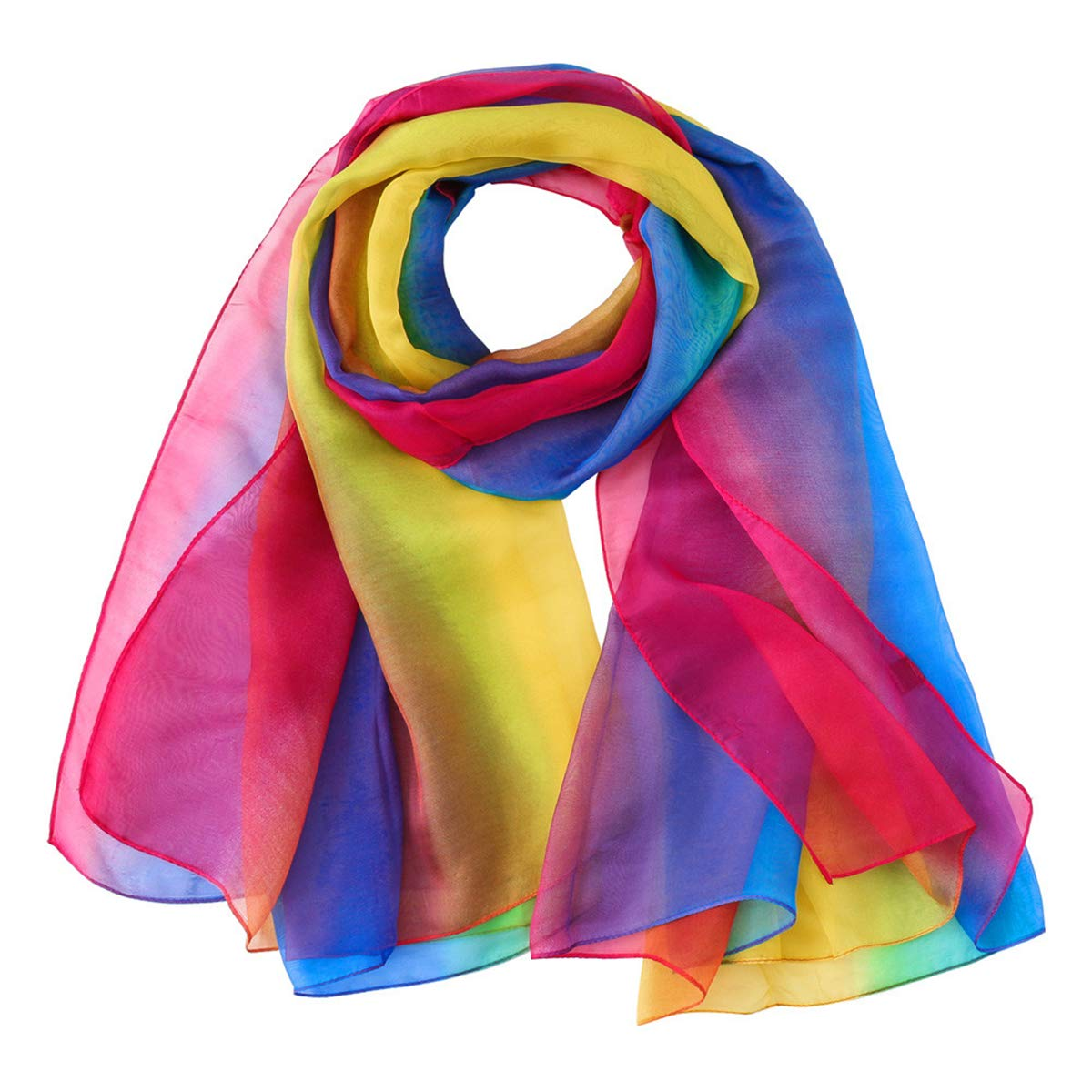 51429189eb5 Rosennie Womens Scarves,Women Fashion Autumn Winter Chiffon Rainbow ...