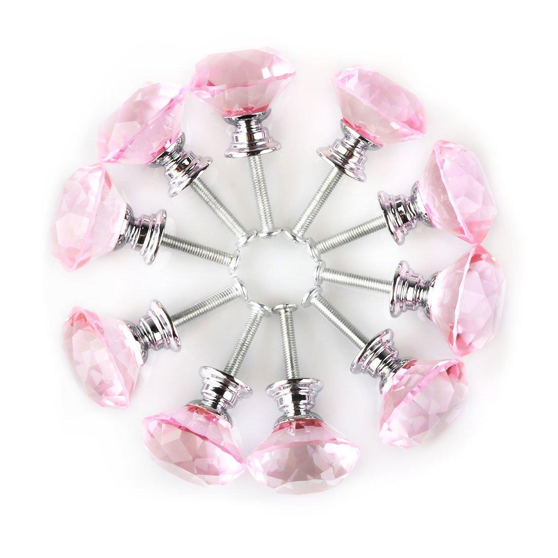 uxcell Diamond Shape Crystal Glass 30mm Kitchen Cabinet Door Drawer Knob Cupboard Dresser Wardrobe Pull Handle with Screws, 10pcs Pink