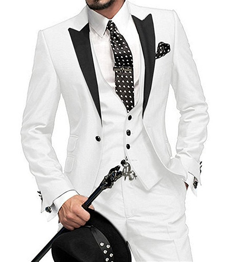 kelaixiang Slim Fit Men's One Button Groom Black Tuxedos 3 Pieces Wedding Suit by Kelaixiang