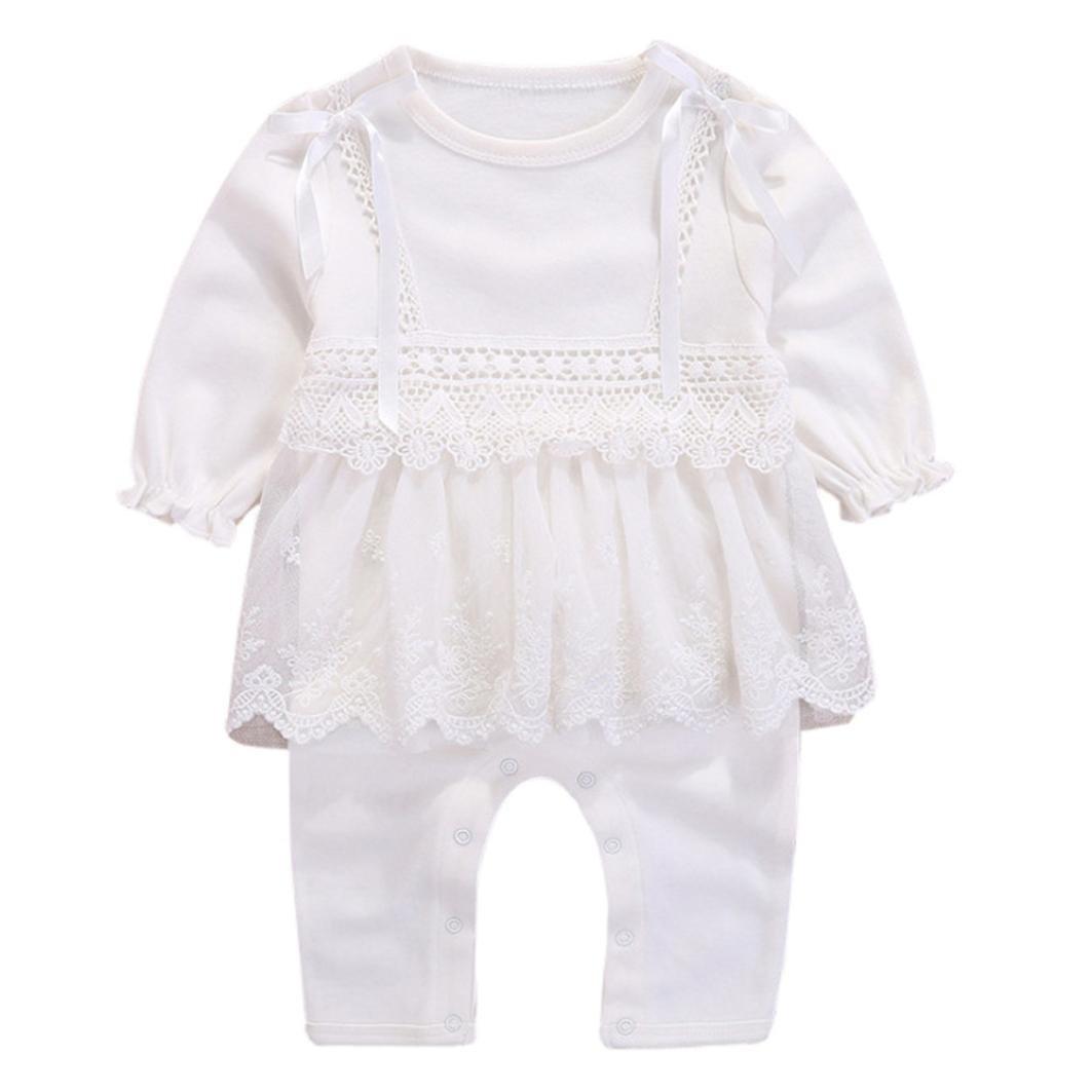 Longra Body Bébé Fille Combinaison Enfant Manche longue Uni Dentelle Jumpsuit Princesse Romper Haut à manches longues Vêtements de nuit Habits Bébé Mode Pyjama Bébé Originaux