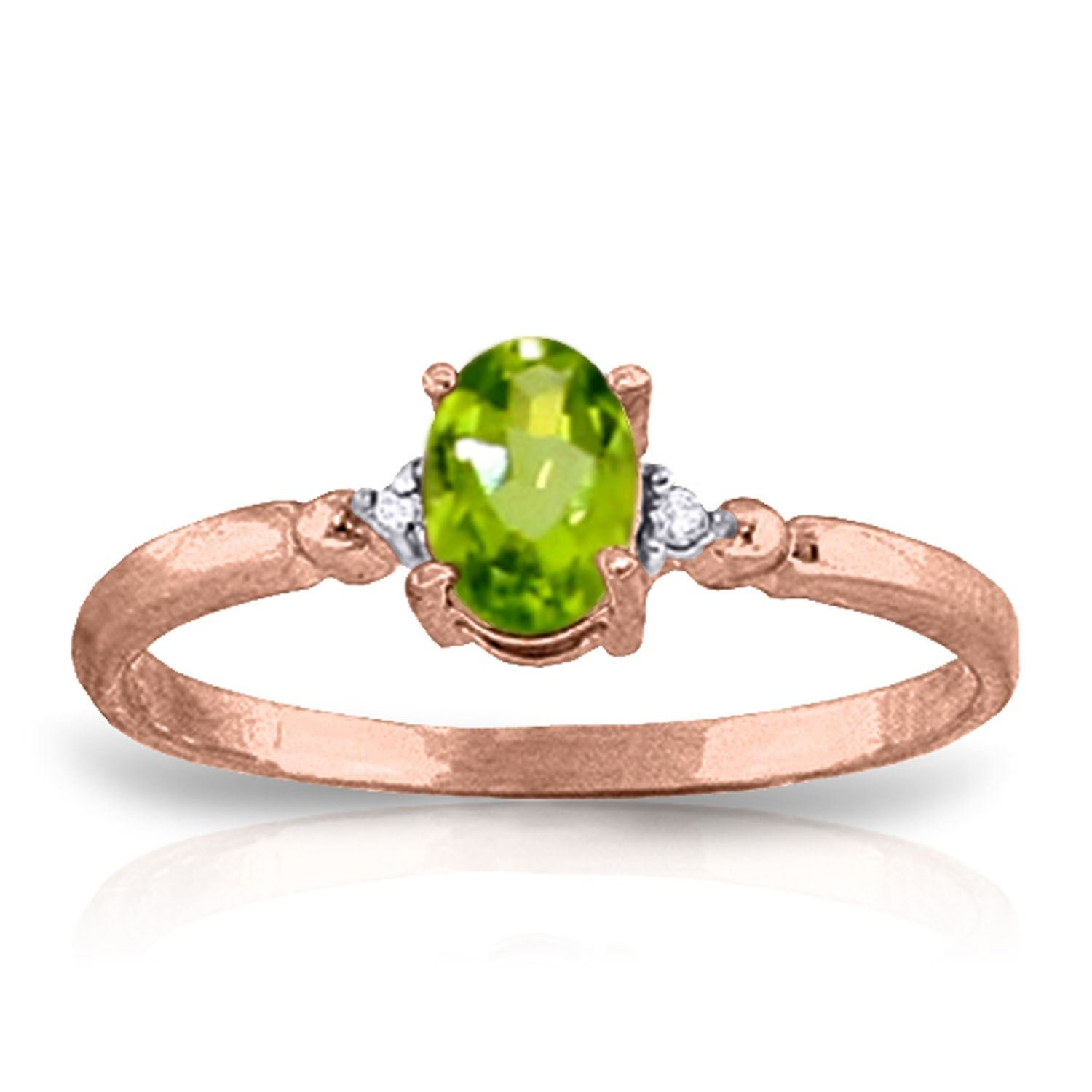 ALARRI 0.46 CTW 14K Solid Rose Gold Young Love Peridot Diamond Ring With Ring Size 5.5 by ALARRI (Image #1)