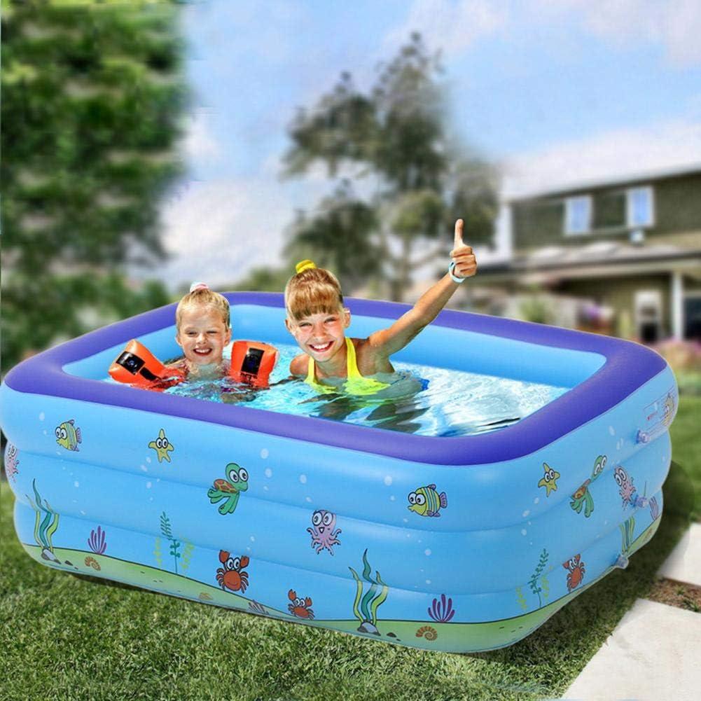 Ntribut Piscina Inflable Piscina Portátil Easy Set Pool Piscina para Niños Ayudas De Entrenamiento para Niños para Aprender A Nadar Bañera Infantil Vida Oceánica Fiesta De Verano PVC 130X90X48cm