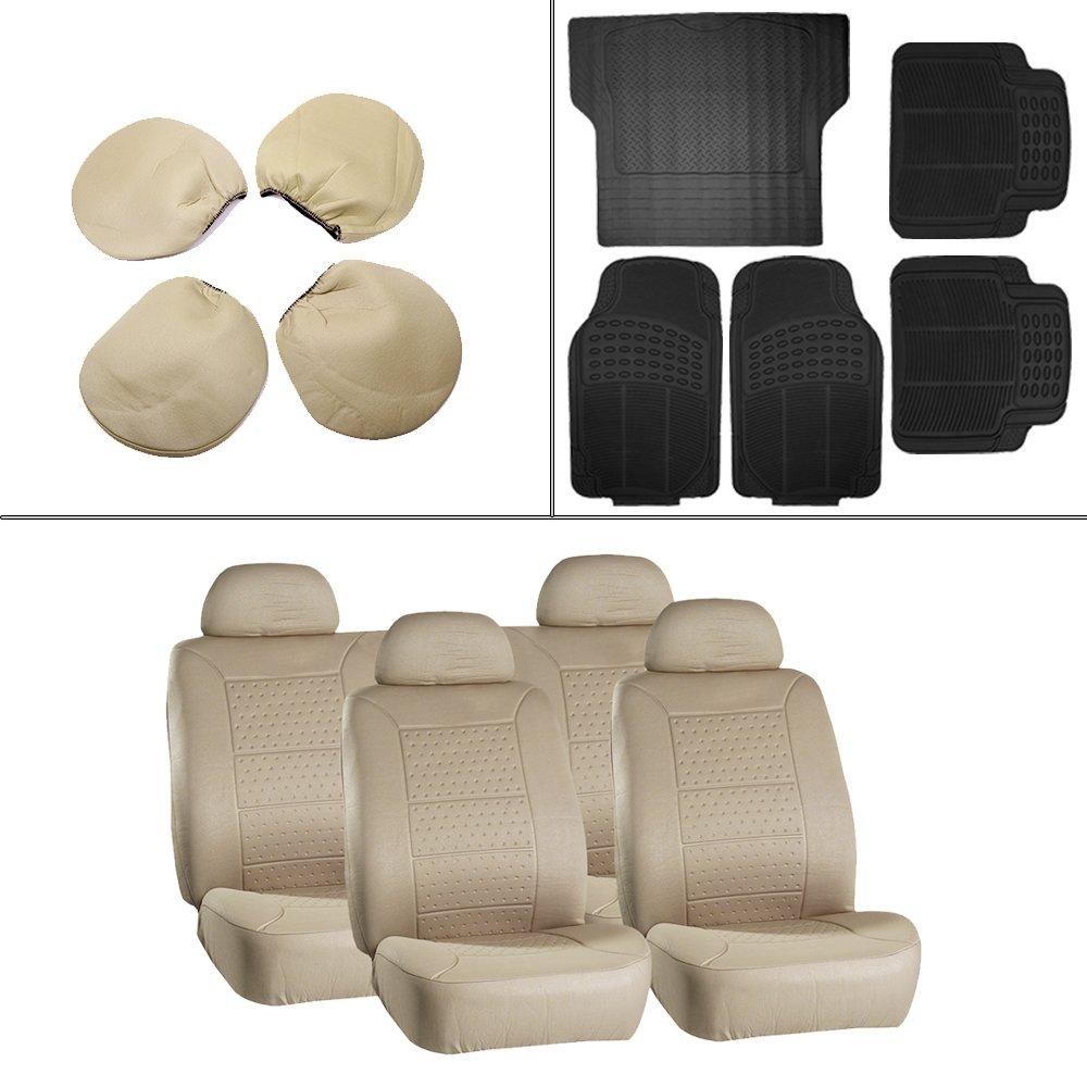Scitoo 13-PCS Car Floor Mats W/Trunk Liner Beige Car Seat Covers for Heavy Duty Vans Trucks