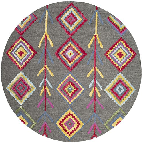 Safavieh Bellagio Collection BLG551A Dark Grey and Multi Premium Wool Round Area Rug (5' Diameter)
