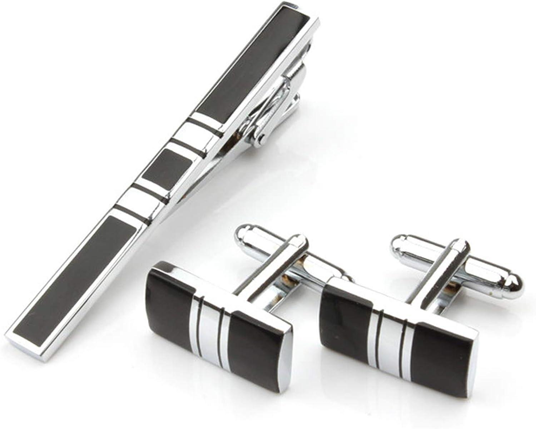 EVBEA emelos Chombre Acero Inoxidable Pisacorbatas Metal Plata Negro Pasador Corbata Set para Hombres Dia del Papá con Caja de Regalos Dia del Padre Joyería