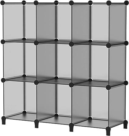 SIMPDIY Storage Cubos modulares 9 Cubos Gris (93x93x30cm) Organizador portátil de plástico Estantería Estante Estante…