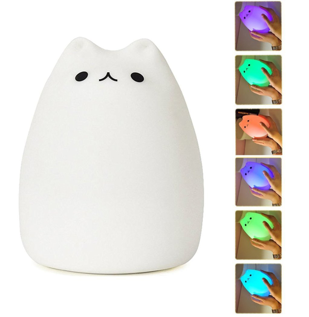 amazoncom mystery portable silicone led night light lamp usb rechargeable children kitty nightlight with warm white single color and 7 color breathing