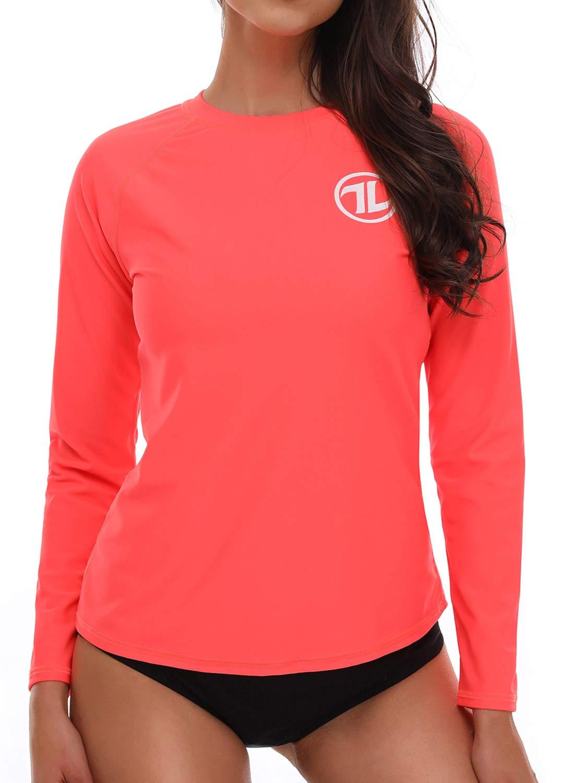 Avellara Womens Long Sleeve Rash Guard Swim Shirt UV Rash Guard Top Swimwear