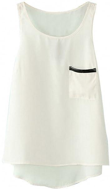 MAKIYO de manga corta para mujer costura para blusas de mujer chifón de tirantes sin mangas