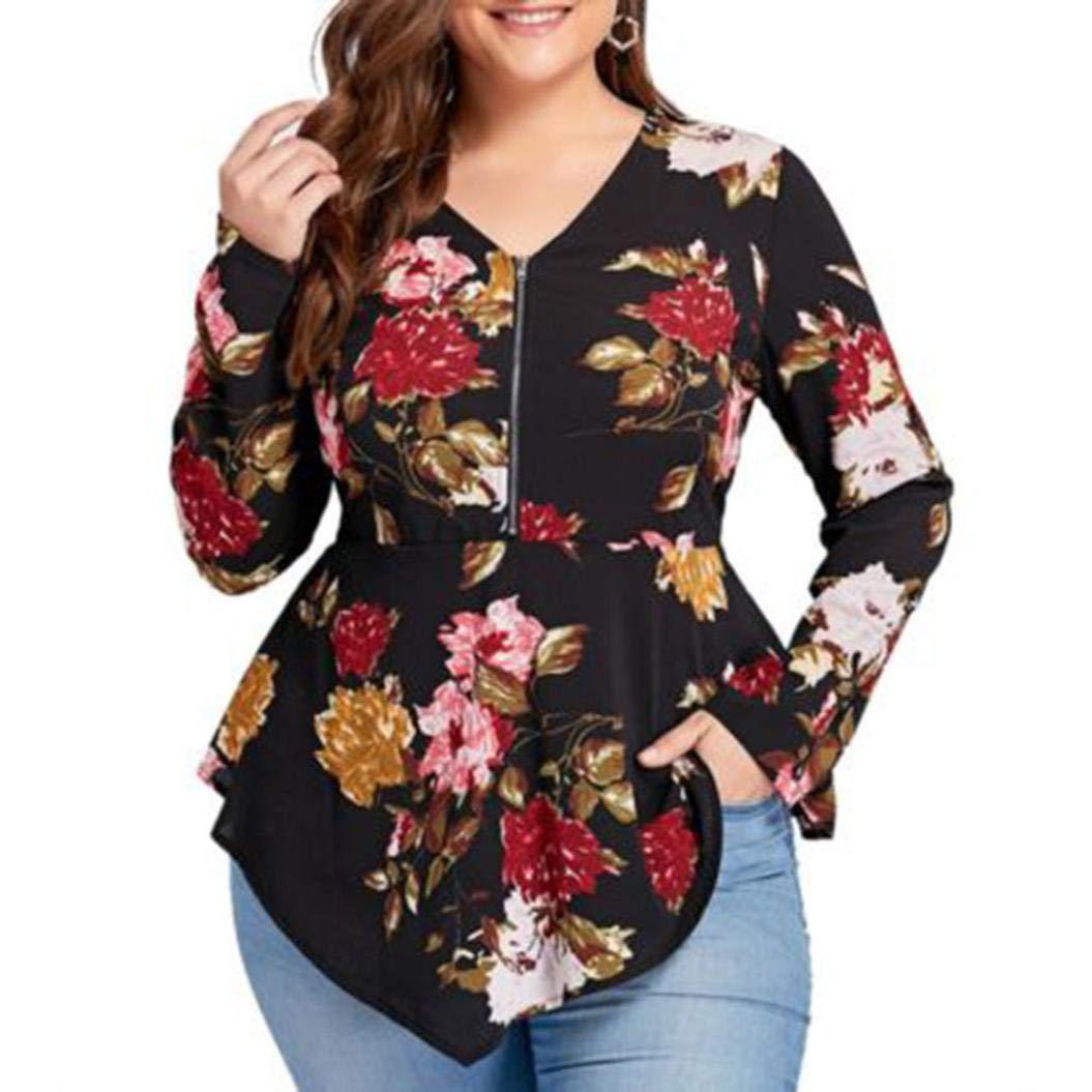 Chiffon Tops,Toimoth Women's Plus Size Printed Shirt Long Sleeve Zipper V-Neck Blouse Tank to(Black,4XL)