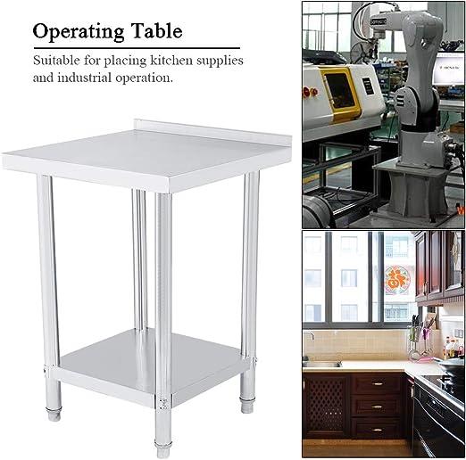 Mesa de trabajo de cocina de acero inoxidable con reborde 2FT/3FT ...