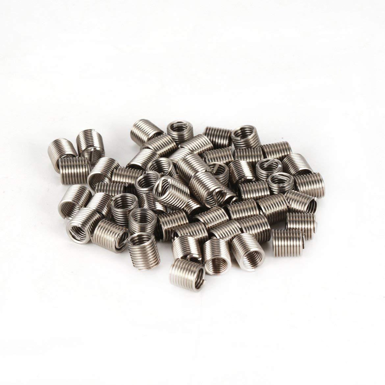 Silber 50PCS Gewindeeins/ätze M5 0,8 2D-Edelstahl-Draht Helicoil Fasteners Hardware-Reparatur-Werkzeuge Schraubh/ülse Set