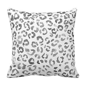 Emvency Throw Pillow Cover Cute Snow Leopard Pattern Black Watercolor Hand Paint White Spots Decorative Pillow Case Home Decor Square 20 x 20 Inch Pillowcase