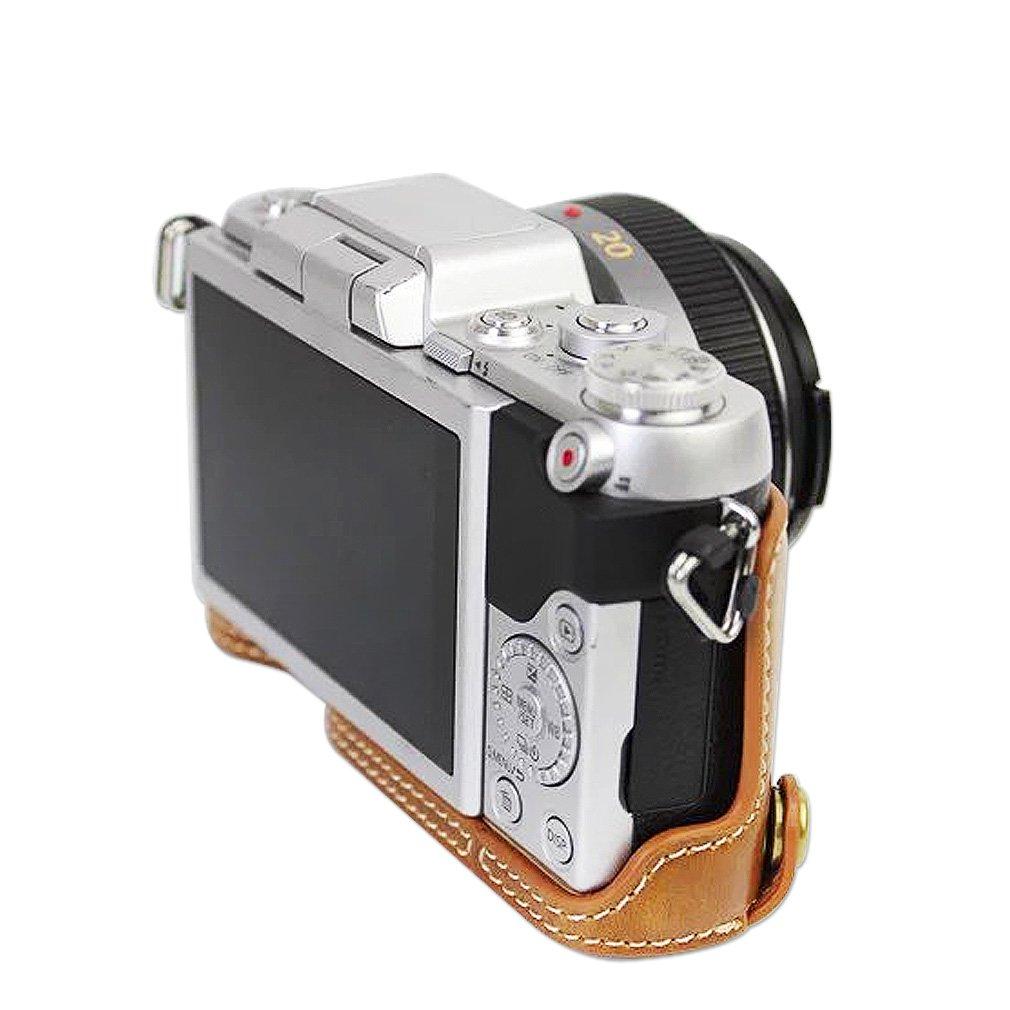 GF7 12-32mm Lens First2savvv marr/ón Calidad premium Funda C/ámara cuero de la PU c/ámara digital bolsa caso cubierta con correa para Panasonic Lumix DC-GF9.GF8 GX850.GX800 XJD-GF9-09G11