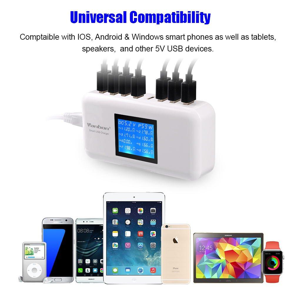 Vanbon - Cargador USB múltiple, 60 W, 12 Puertos, estación ...