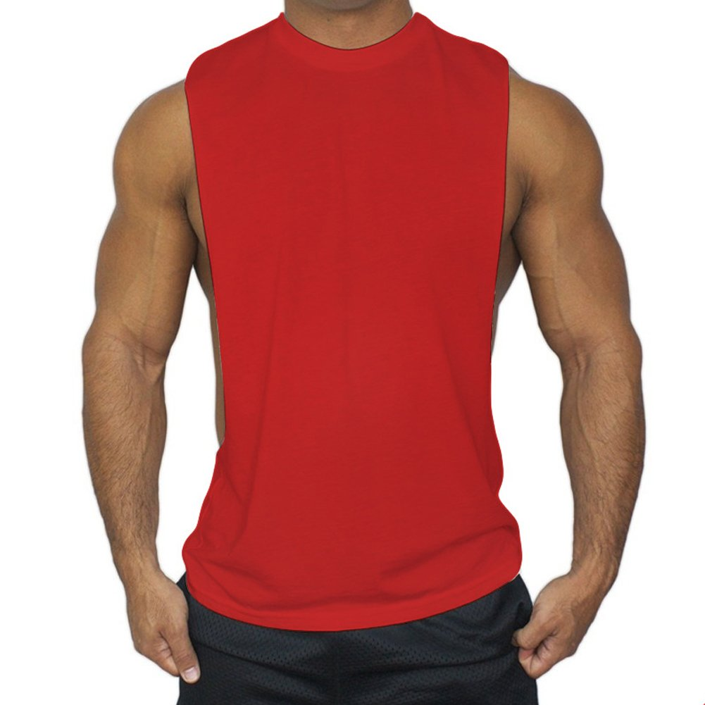 ZUEVI Men's Muscular Cut Open Sides Bodybuilding Tank Top(Red-M-S)