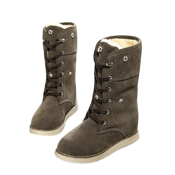 Minetom Mujer Invierno Calentar Botas De Nieve Casual Zapatos De Cordones Tacón Plano Lana Forrado Martin Botas: Amazon.es: Ropa y accesorios