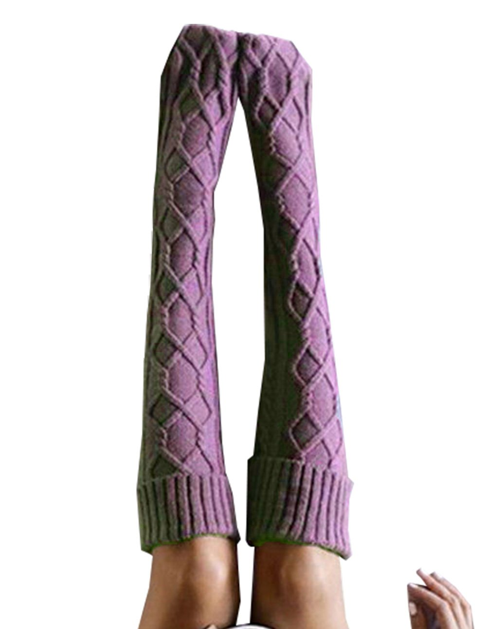 Women Cable Knit Extra Long Boot Socks Over Knee Thigh Stocking (One size, Purple)