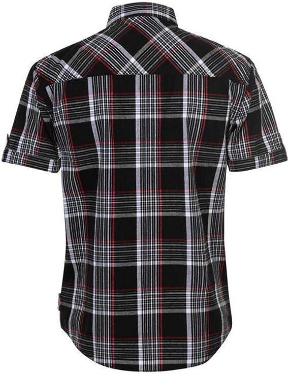 Lee Cooper Mens S/S camisa a cuadros - negro/blanco/rojo: Amazon.es: Ropa y accesorios