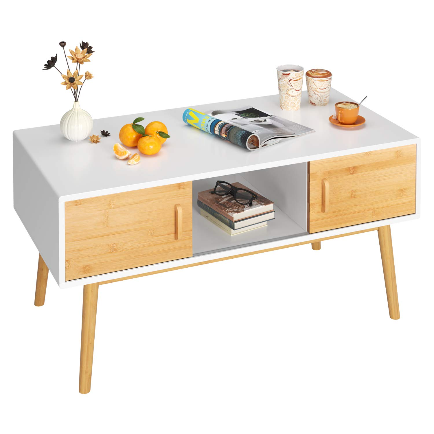 HOMECHO Wood Coffee Table Mid Century Modern Rectangular Cocktail Table with Storage Shelf, 4 BambooSlidingDoors and Legs for Home Office, White, HMC-MD-013 by HOMECHO