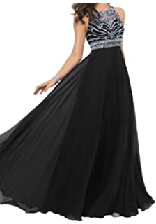 Annas Bridal Womens Halter Chiffon Beaded Prom Dresses Long Evening Gowns