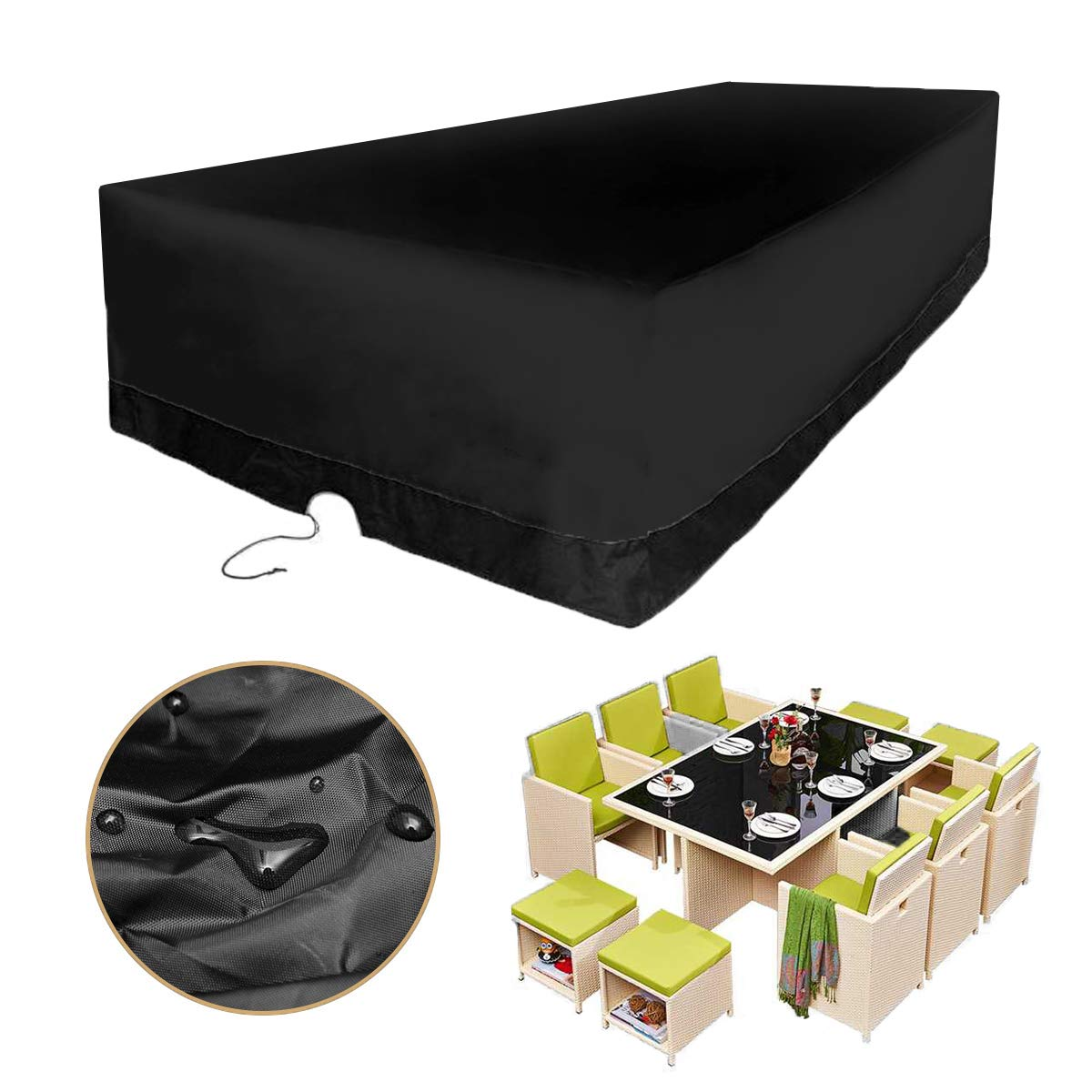 KING DO WAY Furniture Cover Built-in Tighten Rope 350x260x90cm Outdoor Patio Large Rectangular Cover Waterproof Dust UV Protection Fit 10 Seater Outdoor Furniture Set