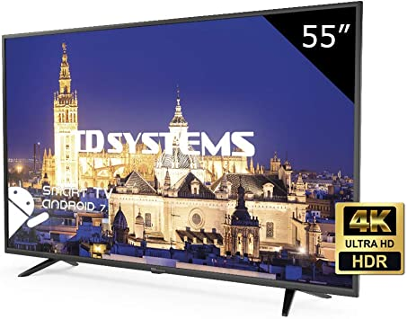 TD Systems K55DLY8US - Televisor Led 55 Pulgadas Ultra HD 4K Smart, resolución 3840 x 2160, HDR10, 3X HDMI, VGA, 2X USB, Smart TV.: Amazon.es: Electrónica