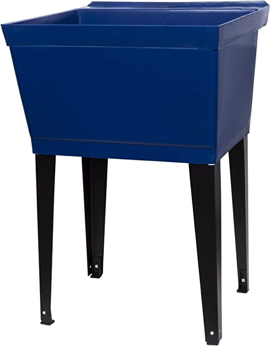 19 Gallon Utility Sink Laundry Tub by JS Jackson Supplies with Adjustable Metal Legs, Ideal for Laundry room, Basement, or Garage Workshop. Heavy Duty Shop Sink. No Faucet Included (Blue)