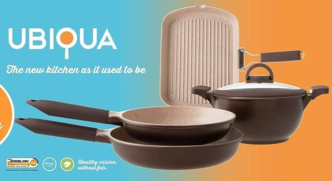 Tognana de Italia UBIQUA 5 pcs (4 ollas y sartenes con una tapa) avanzada 3ª generación revestimiento de cerámica antiadherente - Juego de batería de cocina ...
