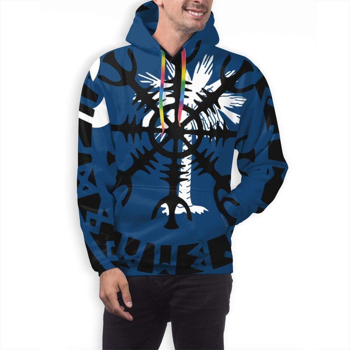 Flag of South Carolina Vikings Helm of Awe Rune Protection Norse Mens Polyester Pullover Hoodie Sweatshirt