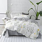 yellow quilt queen - VClife Floral Duvet Cover Sets Full Queen Bedding Sets White Yellow Flower Branches Design Bedding Duvet Cover Sets Cotton Comforter Cover Sets for All Season Queen