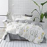 VClife Cotton Twin Bedding Sets Floral Kids Duvet Cover Sets Reversible Geometric Bed Duvet Cover Sets Kids Flower Home Bedding Comforter Cover Sets, Zipper Closure Corner Ties, 3 PCS Sets, Twin