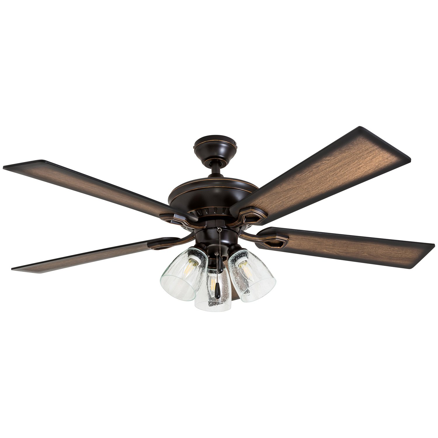 Prominence Home 40278-01 Glenmont Rustic Ceiling Fan with Barnwood Blades, LED Edison Bulbs, 3 Seeded Glass Fixtures, 52 Inches, 5 Blade, Oil-Rubbed Bronze