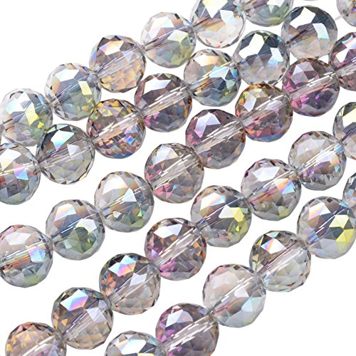 NBEADS 1 Strand Half Green Plated Faceted Round Electroplate Glass Bead Strands with 14mm,Hole: 2mm,About 18pcs/Strand ()