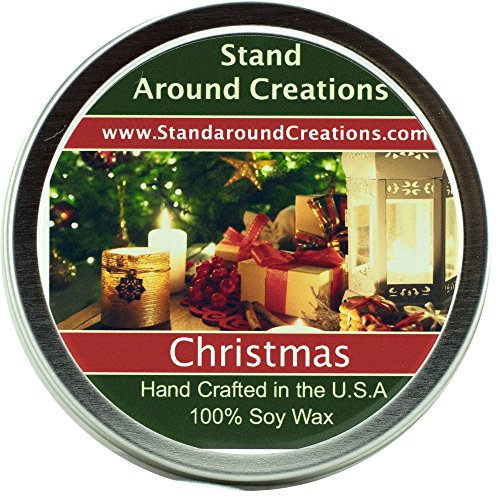 Premium 100% All Natural Soy Wax Aromatherapy Candle - 4 oz Tin Christmas: Christmas combines orange spice notes from the kitchen, fir and pine notes from the Christmas tree, and an earthy smokiness from the fireplace. This fragrance is infused (Room Tin)
