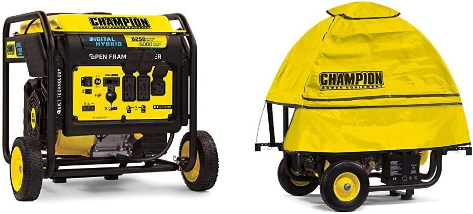 Champion 6250-Watt DH Series Open Frame Inverter with Quiet Technology & ere Weather Portable Generator Cover by GenTent for 3000 to 10,000-Watt Generators